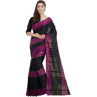 Florence Pink&Black Cotton Silk Plain Saree With Blouse