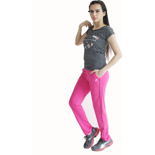 F-ROUTE Womens Track pant Cotton Stretch Lycra Comfortable Gym wear/ Night Wear/ Sports Wear/ Joggers (Pink) Small