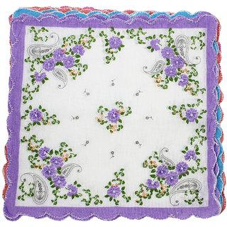 Neska Moda Pack Of 12 Women Floral Cotton Handkerchiefs 30X30 CM H31