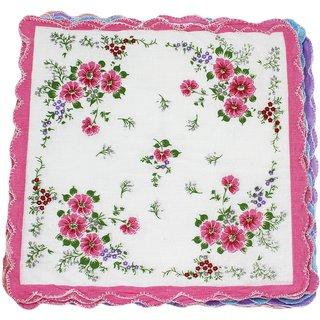 Neska Moda Pack Of 12 Women Floral Cotton Handkerchiefs 30X30 CM H32