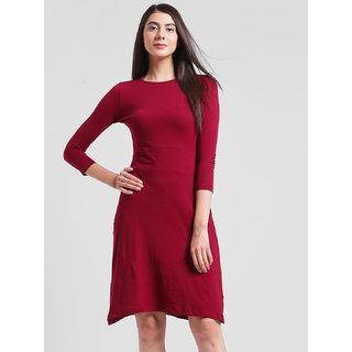 RIGO Maroon Aline Midi Dress