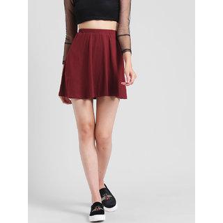 RIGO Solid Maroon Skater Skirt