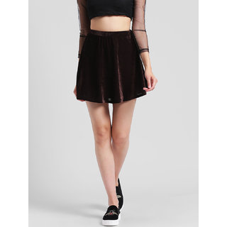 RIGO Brown Velvet Skater Skirt