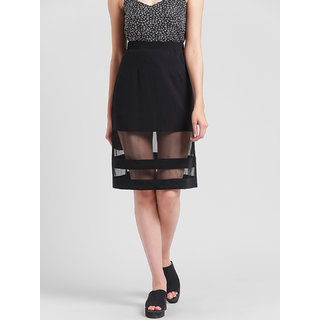 RIGO Mesh Panel Insert Black Midi Skirt