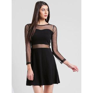RIGO Mesh Panelled Black Dress
