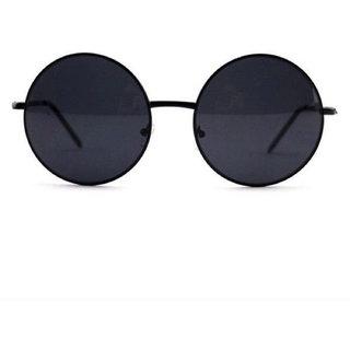 Criba Black UV Protection Round Unisex Sunglasses