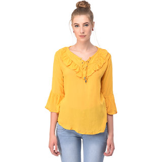 Tamina R-0003 Yellow Mustard Lace Top