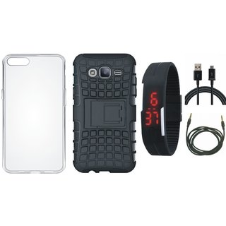 Samsung J7 Prime 2 Shockproof Kick Stand Defender Back Cover with Silicon Back Cover, Digital Watch, USB Cable and AUX Cable