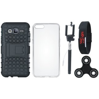 Samsung J7 Prime 2 Shockproof Kick Stand Defender Back Cover with Spinner, Silicon Back Cover, Selfie Stick and Digtal Watch