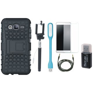 Lenovo K6 Shockproof Tough Armour Defender Case with Memory Card Reader, Free Selfie Stick, Tempered Glass, LED Light and AUX Cable