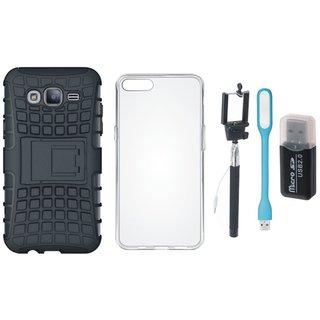 Samsung J7 Pro Defender Tough Hybrid Shockproof Cover with Memory Card Reader, Silicon Back Cover, Selfie Stick and USB LED Light