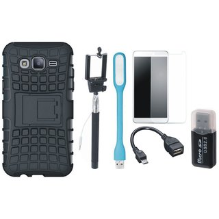 Samsung J7 Pro Defender Tough Hybrid Shockproof Cover with Memory Card Reader, Free Selfie Stick, Tempered Glass, LED Light and OTG Cable