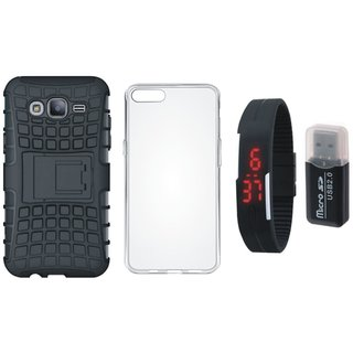 Samsung J7 Pro Defender Tough Hybrid Shockproof Cover with Memory Card Reader, Silicon Back Cover, Digital Watch