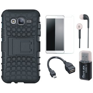 Samsung J7 Pro Defender Tough Armour Shockproof Cover with Memory Card Reader, Tempered Glass, Earphones and OTG Cable