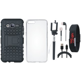 Samsung J7 NXT Shockproof Tough Defender Cover with Silicon Back Cover, Selfie Stick, Digtal Watch, Earphones and USB Cable