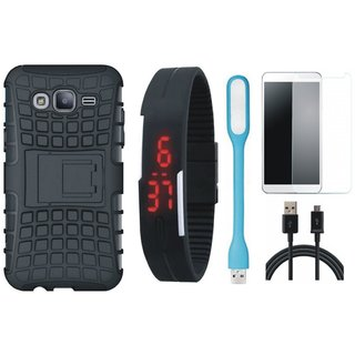 Samsung J7 Prime 2 Defender Back Cover with Kick Stand with Free Digital LED Watch, Tempered Glass, LED Light and USB Cable