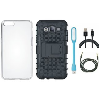 Samsung J7 Prime 2 Defender Back Cover with Kick Stand with Silicon Back Cover, USB LED Light, USB Cable and AUX Cable