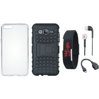Samsung J7 Prime 2 Defender Back Cover with Kick Stand with Silicon Back Cover, Digital Watch, Earphones and OTG Cable
