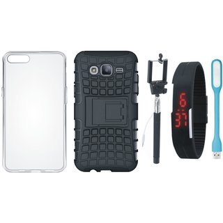 Samsung J7 Prime 2 Defender Back Cover with Kick Stand with Silicon Back Cover, Selfie Stick, Digtal Watch and USB LED Light