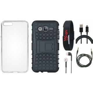 Samsung J7 Prime 2 Defender Back Cover with Kick Stand with Silicon Back Cover, Digital Watch, Earphones, USB Cable and AUX Cable