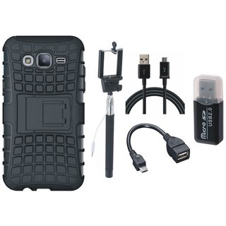 Samsung J7 Pro Defender Tough Armour Shockproof Cover with Memory Card Reader, Selfie Stick, OTG Cable and USB Cable
