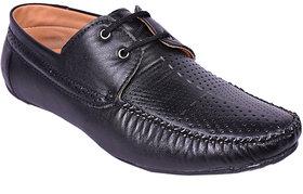 Adler Men's Black Synthetic Leather Lace Up Loafer Shoe