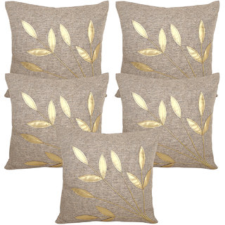 Vinayaka Gray N Gold Leaf Design Jute Fabric Cushion Cover 16 X 16 (Set Of 5)