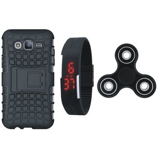 Samsung J7 Prime 2 Defender Tough Armour Shockproof Cover with Spinner, Digital Watch