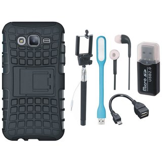Samsung J7 Pro Shockproof Tough Defender Cover with Memory Card Reader, Selfie Stick, Earphones, OTG Cable and USB LED Light