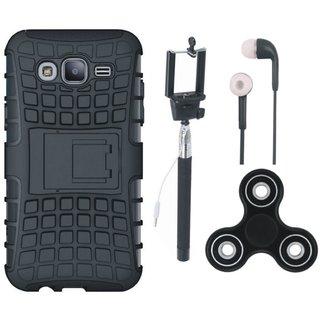 Samsung J7 Prime 2 Shockproof Tough Defender Cover with Spinner, Selfie Stick and Earphones