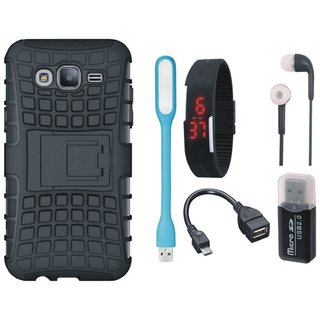 Samsung J7 Pro Shockproof Tough Defender Cover with Memory Card Reader, Digital Watch, Earphones, USB LED Light and OTG Cable