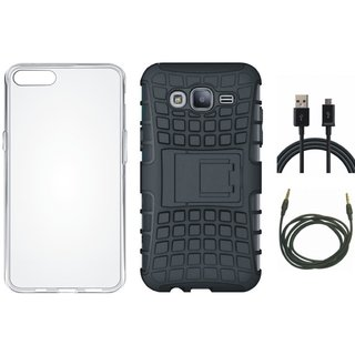 Samsung J5 2016 ( SM J510 ) Shockproof Tough Armour Defender Case with Silicon Back Cover, USB Cable and AUX Cable