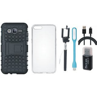 Samsung J7 Pro Shockproof Tough Defender Cover with Memory Card Reader, Silicon Back Cover, Selfie Stick, USB LED Light and USB Cable