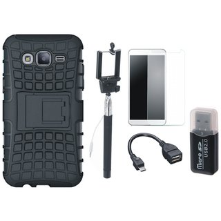 Samsung J7 Pro Shockproof Tough Defender Cover with Memory Card Reader, Free Selfie Stick, Tempered Glass and OTG Cable