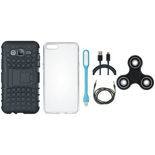 Samsung J7 Prime 2 Shockproof Tough Defender Cover with Spinner, Silicon Back Cover, USB LED Light, USB Cable and AUX Cable