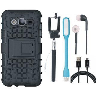 Samsung J5 2016 ( SM J510 ) Shockproof Tough Armour Defender Case with Selfie Stick, Earphones, USB LED Light and USB Cable