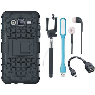Samsung J5 2016 ( SM J510 ) Shockproof Tough Armour Defender Case with Selfie Stick, Earphones, OTG Cable and USB LED Light
