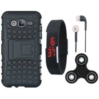 Samsung J5 2016 ( SM J510 ) Shockproof Tough Armour Defender Case with Spinner, Digital Watch and Earphones