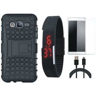 Samsung J5 2016 ( SM J510 ) Shockproof Tough Armour Defender Case with Free Digital LED Watch, Tempered Glass and USB Cable