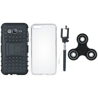 Samsung J7 Prime 2 Shockproof Tough Defender Cover with Spinner, Silicon Back Cover, Free Silicon Back Cover and Selfie Stick