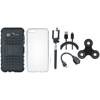 Samsung J7 Prime 2 Defender Tough Armour Shockproof Cover with Spinner, Silicon Back Cover, Selfie Stick, OTG Cable and USB Cable