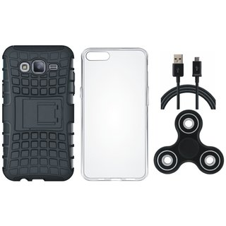 Samsung J7 Prime 2 Shockproof Tough Defender Cover with Spinner, Silicon Back Cover, USB Cable