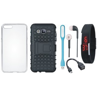 Samsung J5 2016 ( SM J510 ) Shockproof Tough Armour Defender Case with Silicon Back Cover, Digital Watch, Earphones, USB LED Light and OTG Cable