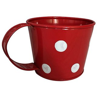 Going Greens Red Single Metal Cup Shape Planter with Polka Dot