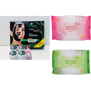 Aroma Herbal Bamboo Charcoal Facial Kit 100 g FREE Rose Water Inside + 2 NG Facial Wipes Packs 25 Contains Each