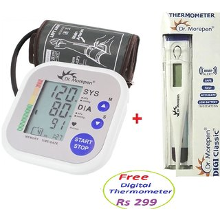 Digital Blood Pressure Monitor - Dr Morepen BP - 02 (Upper Arm Fully Automatic) with Free Digital Thermometer