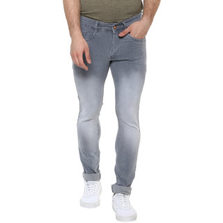 Urbano Fashion Men's Light Grey Slim Fit Stretchable Jeans (Size : 28)
