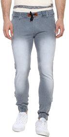 Urbano Fashion Men's Light Grey Slim Fit Stretch Jogger Jeans