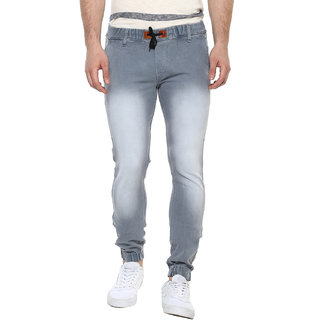 Urbano Fashion Men's Light Grey Slim Fit Stretch Jogger Jeans