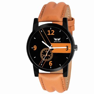 Specter Round Black Dial Leather Tan Strap Casual Analog Watch for Men (KT 12)